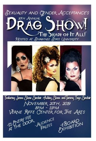 The poster from around campus advertising the drag show.
