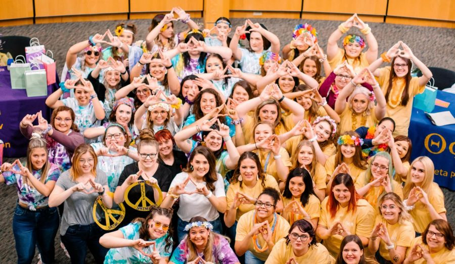Delta Phi Epsilon and Theta Phi Alpha on Bid Day