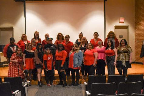 "A photo of all of the students and staff who participated in ""The Vagina Monologues."""