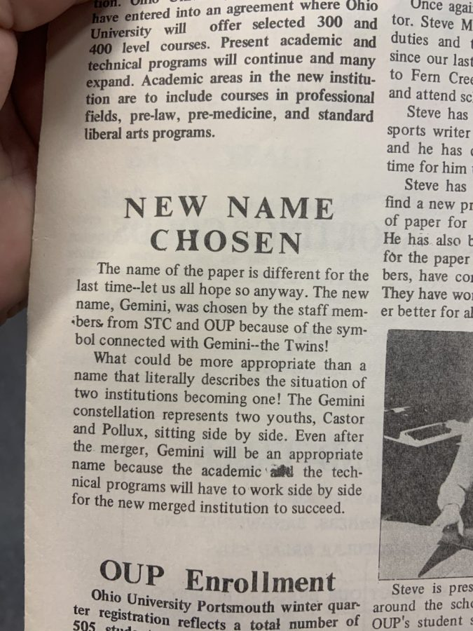 A description of the name change to The Gemini in the first issue of 1975.