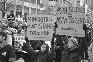 Asian American protestors at a 2014 protest in New York. (Marcela McGreal)